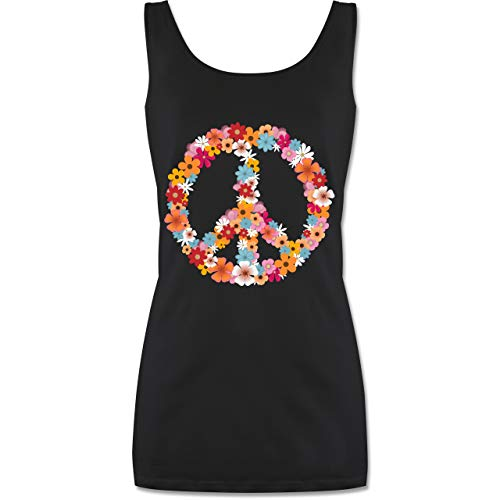 Shirtracer Statement - Peace Flower Power - XL - Schwarz - Flower Power - P72 - Tanktop für Damen und Frauen Tops