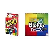 Mattel Games UNO Classic, Juego de Cartas + Blokus Refresh, Juego de Estrategia para niños +7 años