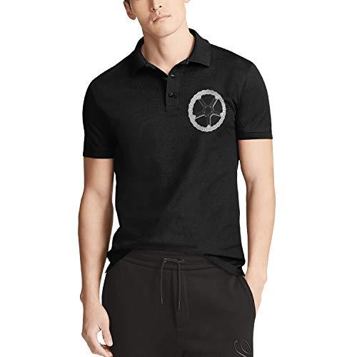 Black Mens Short-Sleeve Collared Polo T-Shirts Arlen-Ness-Logo- Tees Golf Tops