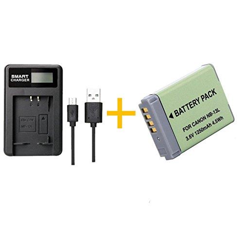1 Piezas 1250mAh NB-13L NB13L Batería con Cargador de batería para Canon G5X / G5X Mark II / G7X / G7X Mark II / G7 X Mark III G9X SX620 HS SX720 HS Camera (1 pcs Battery with Charger)