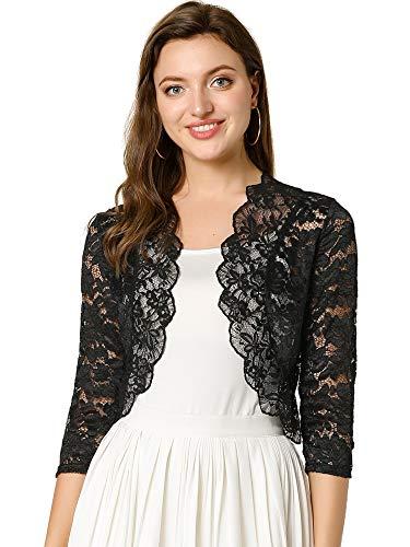 Allegra K Women's Elegant 3/4 Sleeve Sheer Floral Lace Shrug Top X-Small Black