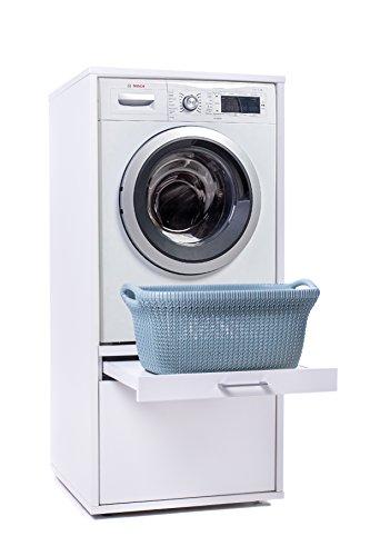 Waschmaschinenschrank - Der Waschturm - Basismodel - TÜV zertifiziert - Stabil - Höhenverstellbar - 146 cm x 67 cm x 65 cm (Mit Ausziehbrett)
