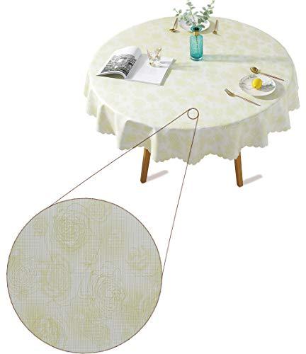 Qualsen Mantel Antimanchas Redondo Impermeable, 160 cm, Manteles Mesa Decorativo para Hogar Comedor del Cocina, Rosa patrón