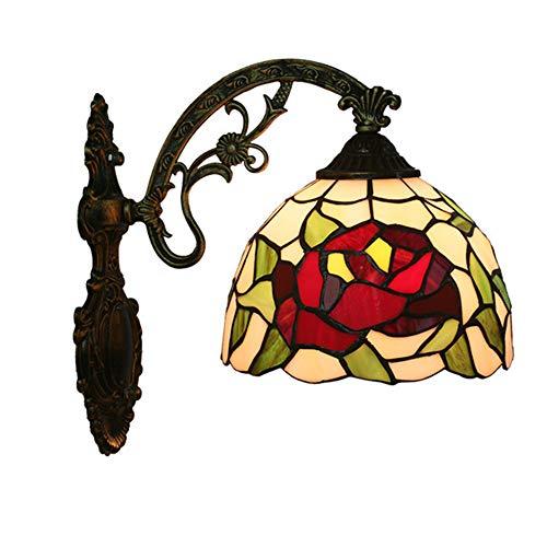 MTTK Vintage Style Tiffany Lampe Murale Rose conçu Verre Mur lumière intérieur éclairage 20 * 36CM