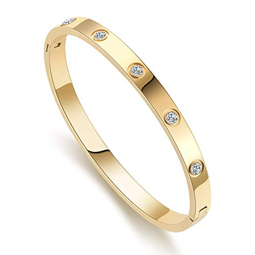 Love Bracelet Bangle for Women Gilrs with Cubic Zirconia Stones Stainless Steel Hinged...