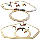 EYEPOWER 50-teilige Holzeisenbahn Starter-Set Spielzeug-Eisenbahn 4m Holzbahn Kinder-Bahn Zug Spiel-Set Holz