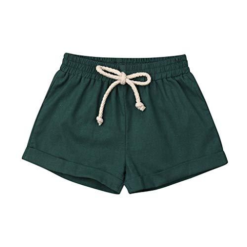Julhold Verano Niños Niño Niña Color Sólido PP Casual Suelto Pantalones Cortos Pantalones Cortos Cintura Elástica Pantalones Ropa 0-3 Años Nuevo