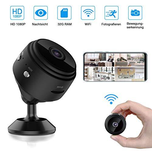 trounistro Mini Kamera, HD 1080P WiFi Mini Überwachungskamera Micro Akku mit Infrarot Nachtsicht, Bewegungserkennung und 32G SD-Karte Kabellose Kleine Kamera für den Außen- und Innenbereich
