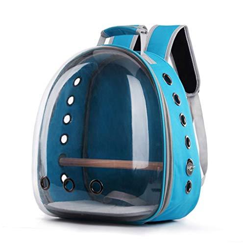 Bolsa de transporte para mascotas, transpirable, para mascotas, loro, gato, pájaro, bolsa de viaje, cápsula transparente con soporte extraíble