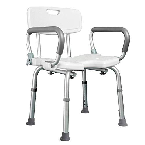 WEIZI Silla de baño para Ducha con Respaldo y Brazos extraíbles Silla de SPA para baño Ajustable en Altura para Personas Mayores Personas Mayores discapacitados y discapacitados