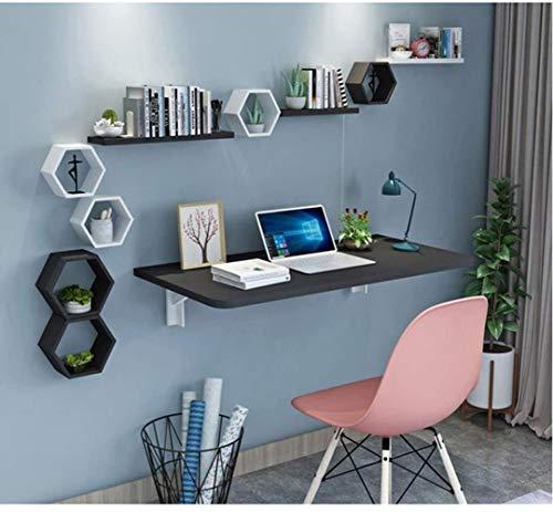 JIADUOBAO Mesa plegable de pared, escritorio pequeño espacio para ordenador, mesa de comedor, superficie brillante