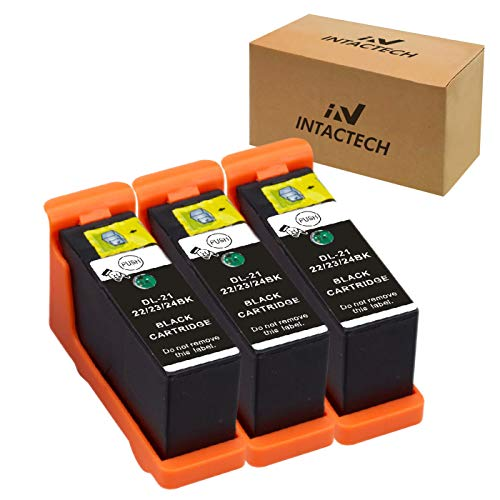 Intactech 3 Black Compatible Dell V515w V715w V313w Ink Cartridges Dell Series 21 22 23 24 Work for Dell V313, V313w, V515w, V715w, P513w, P713w Printer
