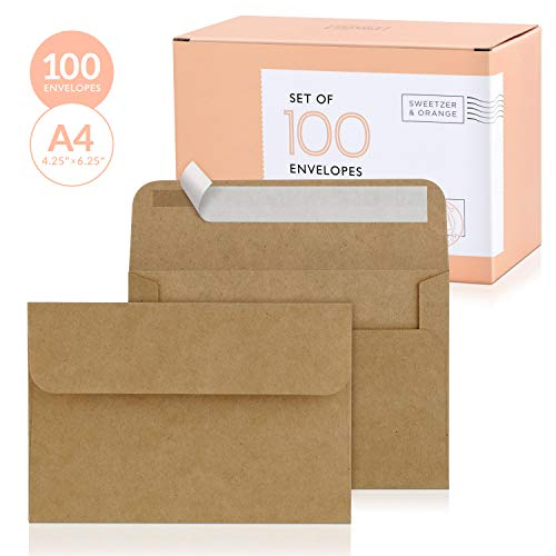 Sweetzer & Orange, A4 Brown Envelopes Self Seal. 100x Envelope and Box. Mailing Envelopes 4x6 (4.25 x 6.25 in.) Kraft 150gsm Self Sealing Envelopes, Blank 4x6 Envelopes for Invitations and Wedding