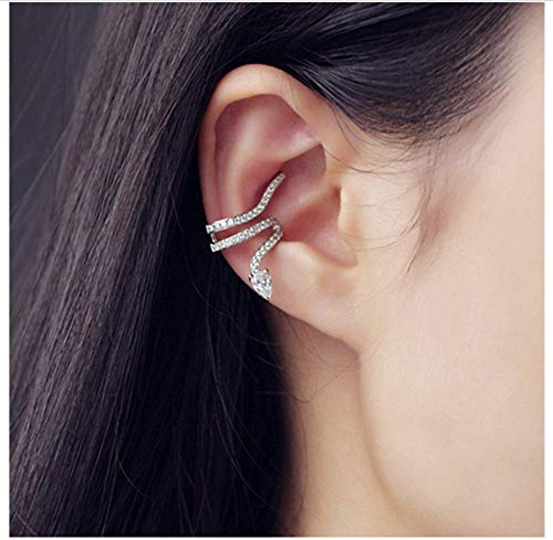 TAOYUN Frauen Ohrringe 925 Sterling Silber Mädchen Weißgold Personalisierte Schlangen-Inlay-Zirkon-Ohrclips Ohne Ohrstecker Schmuck EIN