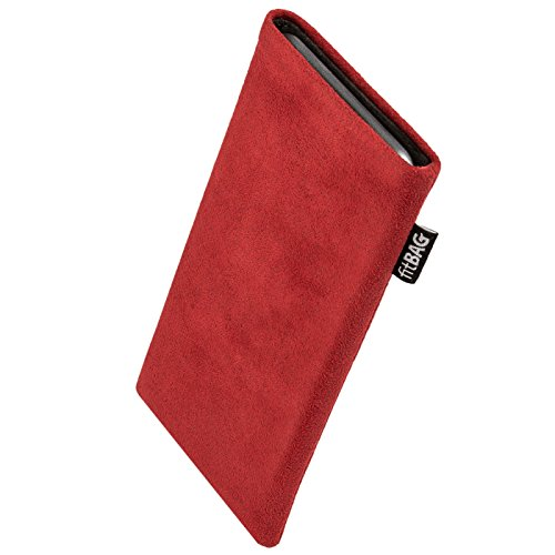 fitBAG Classic Red Custom Tailored Sleeve for Elephone P9000 Edge. Genuine Alcantara Pouch with Integrated Microfibre Lining for Display Cleaning