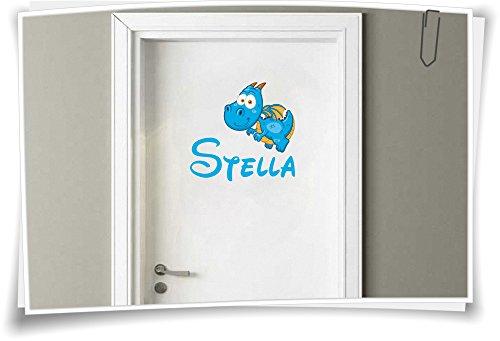 Medianlux deursticker kinderkamer sticker naam kindernaam wensnaam baby draak