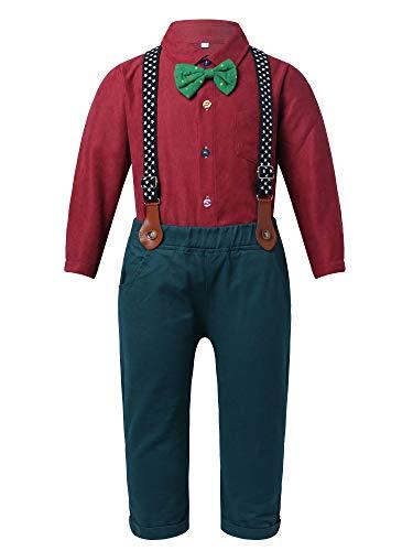 Yeahdor 3Pcs Kleinkind Anzug Junge Festlich Hochzeit Baby Weihnachtsoutfit Gentleman Smoking Suit Hemd + Hose mit Hosenträger Party Festzug Rot 80-86