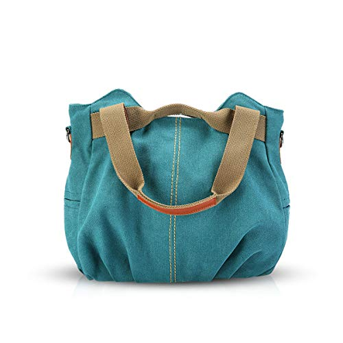 NICOLE & DORIS Canvas Tasche Damen Tragetaschen für Damen Schultertaschen Umhängetasche Leinwand Handtasche Mädchen Blauer See