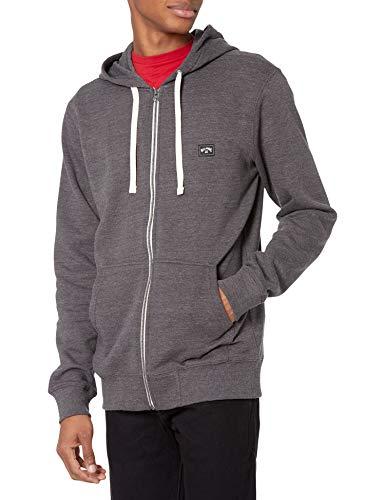 Billabong Men's Classic Premium Full Zip Fleece Sweatshirt Hoodie, Black Texture, L