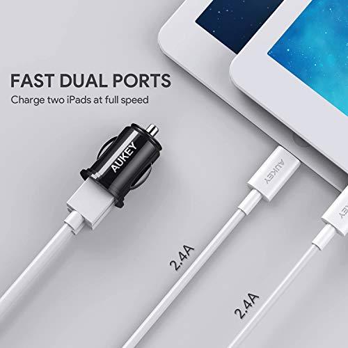 AUKEY USB Kfz Ladegerät, Mini 24W (5V/4,8A) ULTRA KOMPAKT Dual USB AutoLadegerät mit AiPower Technologie für iPhone X/8/8 Plus/7, iPad Air/Pro/mini, HTC, LG und andere Geräte (Schwarz)