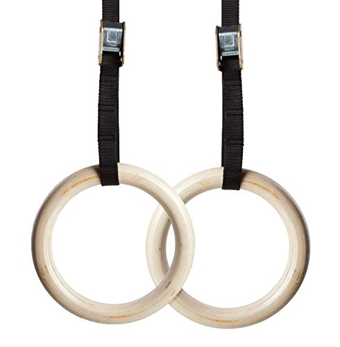 NEXPRO Wood Gymnastic Ring Olympic Strength Training Gym Rings Wooden for Crossfit