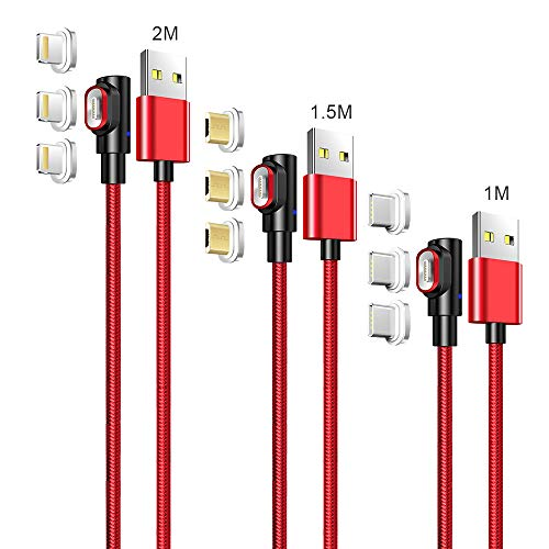 LAMA 90° Magnetisches USB Ladekabel [3 Stück 1M + 1,5M + 2M] 3A Datenkabel Magnet Kabel Sync und Schnellladekabel mit Blitz Type C Micro USB Magnetstecker für Phone Android Windows Phone