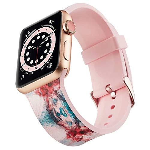 Miimall - Correa de reloj compatible con Apple Watch Serie 1, 2, 3, 4, 5, 6, SE, 40 mm, 38 mm, estilosa correa de silicona para iWatch serie 1, 2, 3, 4, 5, 6, 38 mm, 40 mm, color roso