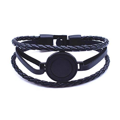 Armbanden handgemaakt dubbel gevlochten leer klassieke zwarte armband ronde houten bedelarmband 21 cm lengte mannen sieraden