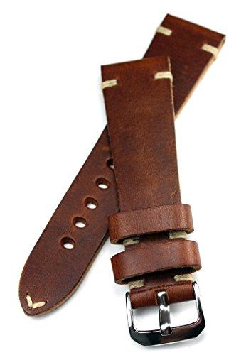 Rios 1931, cinturino per orologio da uomo da 22 mm in pelle marrone Pilot Vintage