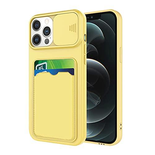 Fundas Compatible con iPhone 12 Pro MAX Funda Tarjeta, Funda iPhone 12 Pro MAX Camara Protegida Rosa, Carcasa iPhone 12 Pro MAX Antigolpes Case Silicone (Amarillo, iPhone 12 Pro MAX)