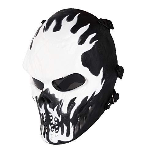 Halloween Full Face Skeleton Maske, Airsoft Maske, Taktische Paintball Maske, fur Softair CS Partyspiel (Gray Lens Augenschutz)