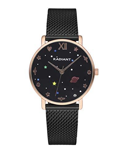 Reloj analógico para Mujer de Radiant. Colección Milky Way. Reloj Bicolor Negro y Oro Rosa con Malla milanesa y Esfera Negra con Detalles en Colores. 3ATM. 36mm. Referencia RA545204.