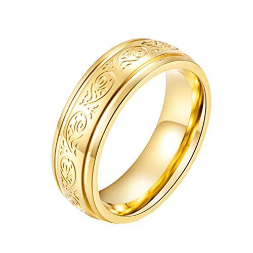 OAKKY 7MM Parejas Anillo Unisex Acero Inoxidable Oro Tono con Grabado Florentino Diseño Compromiso Boda Band Comodidad Ajuste Tamaño 19