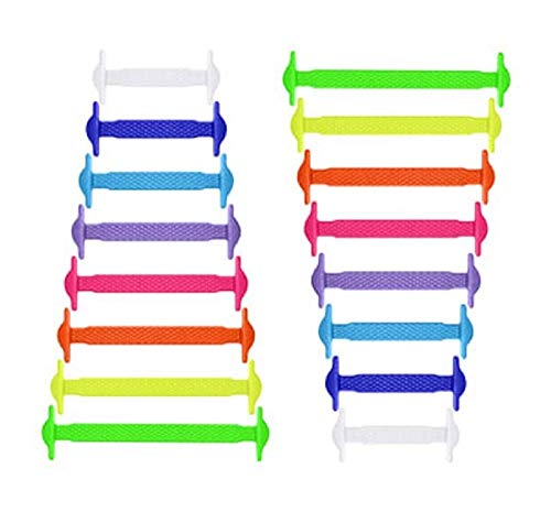 RECKNEY Lacci per scarpe senza nodo per bambini e adulti, in silicone, piatti, per scarpe da ginnastica, elastici, facili da inserire(Multicolore)