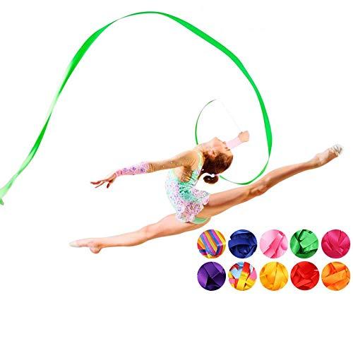 HATCHMATIC 2M / 4M Colorido Ballet de Gimnasia rítmica de la Cinta Cintas Danza Arte de Gimnasia Streamer de Giro del palillo de Rod para el Entrenamiento de Gimnasio Profesional: Rosa, de 2 Metros