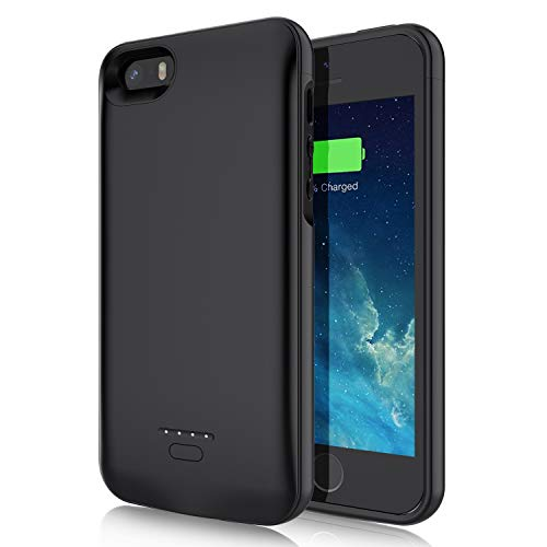 Battery Case for iPhone 5 5S SE,JUBOTY 4000mAh Protective Charging Case for iPhone 5 5S SE Portable Rechargeable Battery Charger Case(4.0Inch)