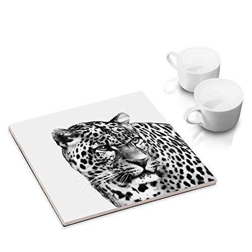 COGNOSCO Dessous-de-Plat céramique pour la Table où la Cuisine - 15 x 15 cm - avec Motif d'animal: Léopard