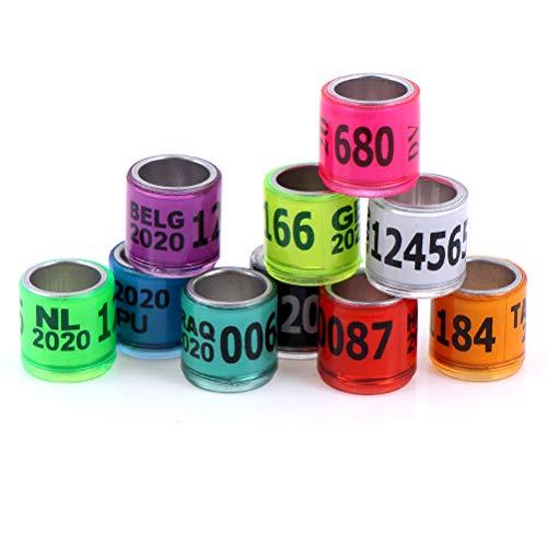 BraveWind 100 Stück Aluminium Vogel Ringe Beinbänder Renntauben Fußring für Tauben Papagei Finken Kanarienvögel Luke Geflügel Ringe, Farbe zufällig