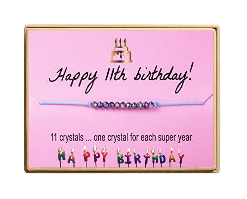 11th Birthday Bracelet Birthday Gifts for Girl Crystal Beads Handmade Adjustable Cord Bracelet