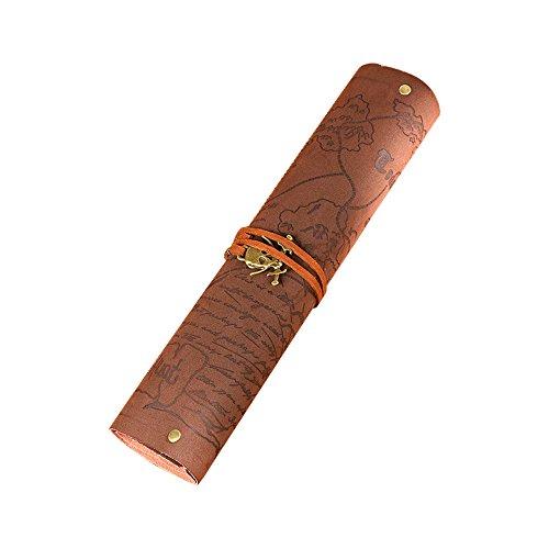 レトロヴィンテージ海賊ロールアップPUレザーバンデージペン鉛筆ケースバッグホルダーカバーポーチひな形School Supplies Make Up Cosmetic Bag #2