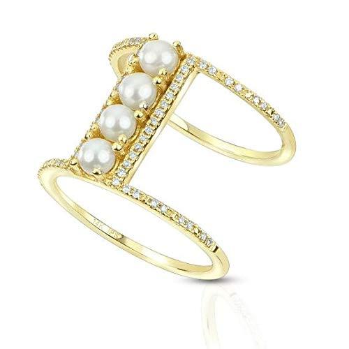 Anillo Seed Pearl doble barra con acentos de diamantes 14k oro amarillo (0.19ct), anillo de compromiso de oro amarillo Por siempre uno, anillo de bodas, anillo de la promesa
