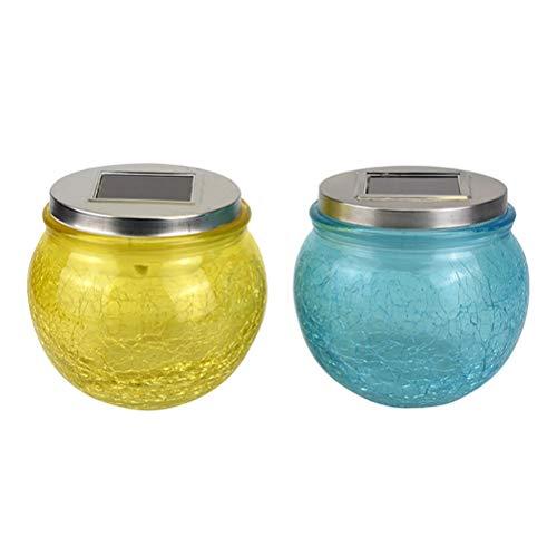 Uonlytech - 2 lámparas de cristal con energía solar para fiestas en el jardín (color aleatorio)
