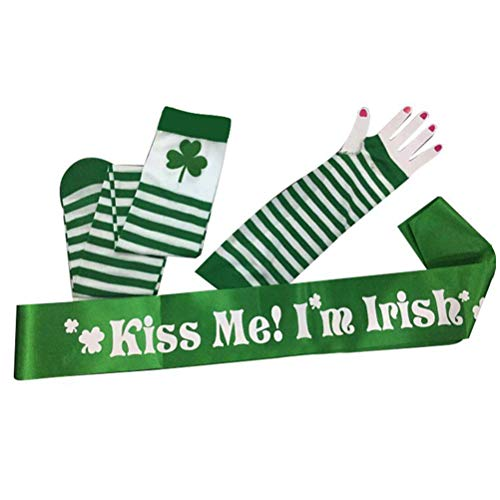 Kinnter St. Patrick's Day kostuumaccessoires Wit Groen gestreepte armmanchetten en manchetten Kiss Me I'm I'm Irish Sash Decoraties voor Irish Day Parade Party Supplies