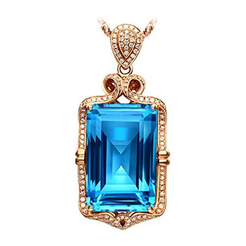 ButiRest Gold 750 18 carat, 39.95 ct blue topaz rectangular cut with diamond 18 carat rose gold pendant charm with chain.