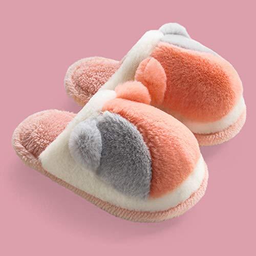B/H Invierno Forro Polar Slippers Suave Interior,Zapatillas de algodón para niños Animales,cálidos Zapatos de bebé de Felpa-Negro_30-31,Zapatos de algodón de Felpa para Interiores con Fondo Grueso