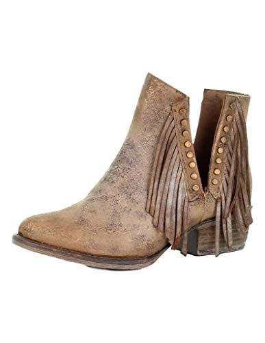 Corral Boots Women's Brown Studs & Fringes Round Toe Bootie (7.5 Medium)