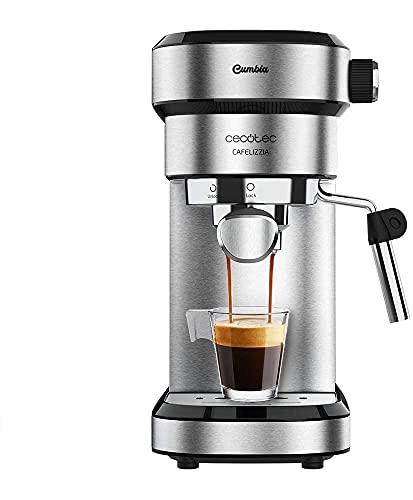 Cafetera Steel para espressos y cappuccinos, Brazo portafiltros con Doble Salida y Dos filtros, 20 Bares de Presión, Depósito extraíble de 1,2L, 1350W, Acero