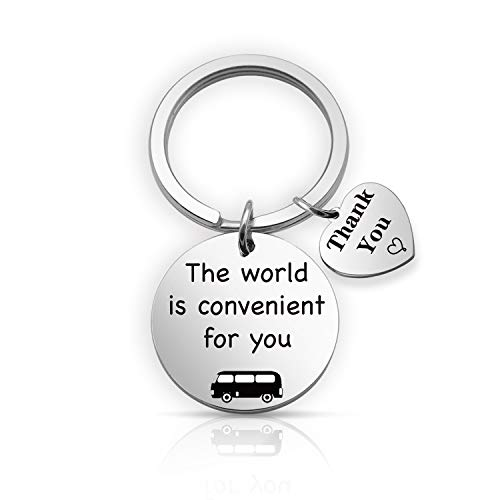 EIGSO - Llavero de Conductor de autobús The World is Conveniente para ti, Llavero de autobús Escolar, Regalo de aprecio para conducción, Regalo Seguro Llavero (World Convenient KR)