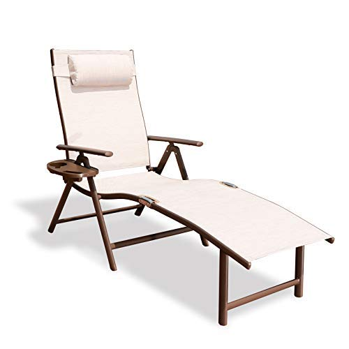 GOLDSUN Aluminum Outdoor Folding Reclining Adjustable Chaise Lounge Chair with Headrest and Tray for Backyard Beach Porch Patio Swimming Poolside (Single, Beige)