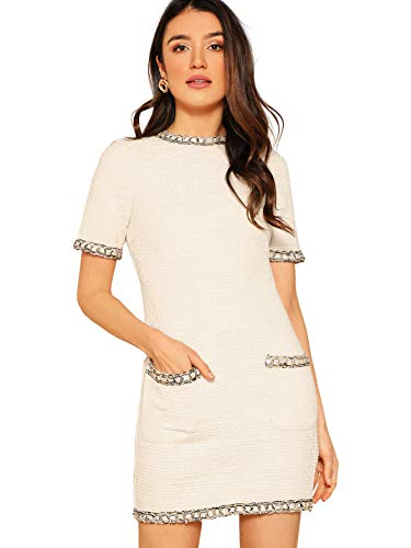 Floerns Women's Tweed Short Sleeve Shift Tunic Dress with Pockets White L